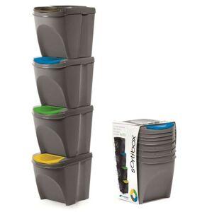 Sada odpadkových košů 4x25 L DEILA šedá