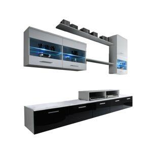 Obývací stěna Besta LED bílá/černá