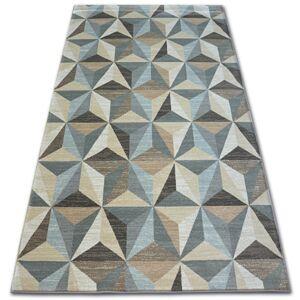 Kusový koberec ARGENT - W6096 trojuholníky, béžový/modrý