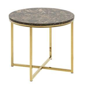 Konferenční stolek Glasgow IV mramor hnědý/zlatý