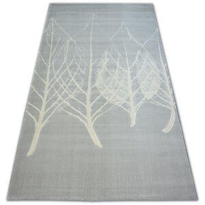 Kusový koberec SCANDI 18281/652- listy šedý / krémový
