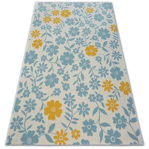 Kusový koberec PASTEL 18414/062 - květiny / krémový tyrkysový zlatý