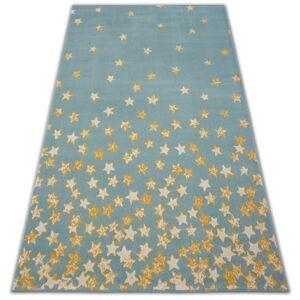 Kusový koberec PASTEL 18408/032 - hvězda / tyrkysový zlatý krémový