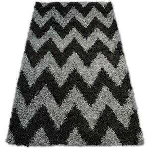 Kusový koberec SHAGGY GALAXY ZIGZAG  šedo - antracitový