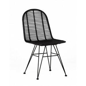 Židle Tuban II ratan boho černé