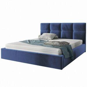 Čalouněná postel Ksavier 140x200 dvoulůžko - námořnická modř
