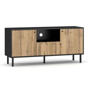 TV stolek Bospe RTV 140 cm černý mat/dub wotan