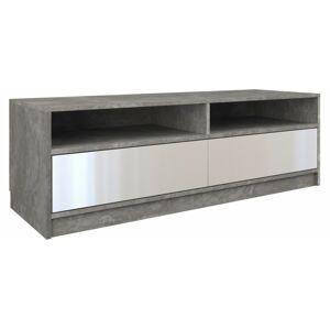 TV stolek KARO 120 cm beton/lesklá bílá