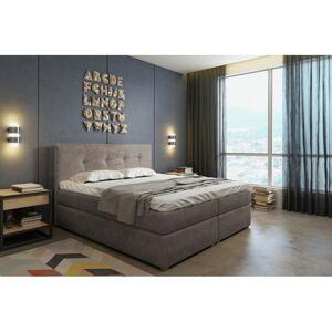 Kontinentální velurová postel Sara 160x200 cm béžová