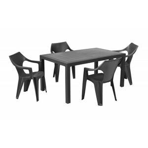 Sada stůl + čtyři židle Melody Dante low šedá