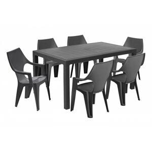 Sada stůl + šest židlí Melody Dante high šedá