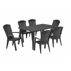 Sada stůl + šest židlí Melody Minnesota šedá