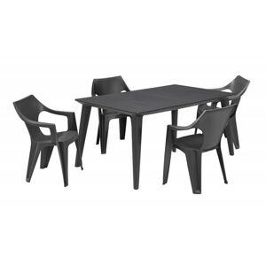 Sada stůl + čtyři židle Lima Dante low šedá