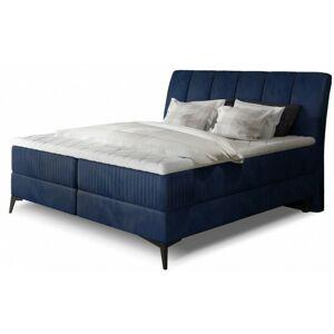 Čalouněná kontinentální postel Aderito boxspring 180x200 cm modrá