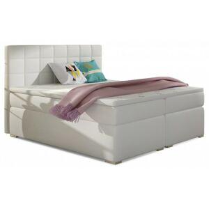 Čalouněná kontinentální postel boxspring Alice 160x200 cm bílá - EKO kůže