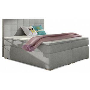 Čalouněná kontinentální postel boxspring Alice 180x200 cm světle šedá