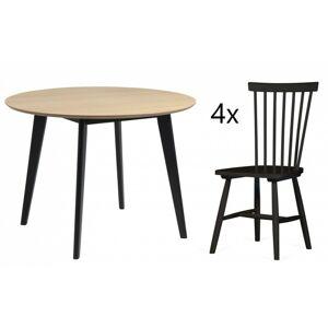 Jídelní stůl Roxby + 4 jídelní židle Edgardo dub/černé