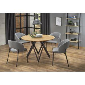Kulatý jídelní stůl Mozana dub zlatý/černá
