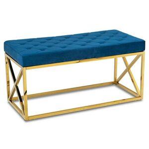 Prošívaný taburet NELJA námořnická modř/zlatý