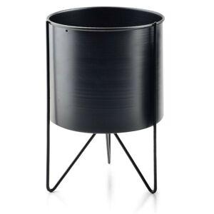 Černý květinový stojan Swen Cylindre 26 cm