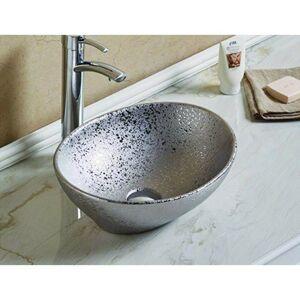 Keramické umyvadlo na desku MEXEN ELZA 40x34 cm stříbrné
