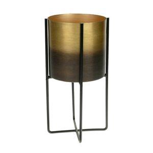 Květináč černo-zlatý na stojanu 27 cm