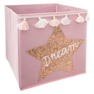 Textilní koš na hračky Dream růžový