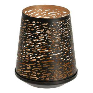 Kovová prolamovaná lucerna Thin černá/zlatá