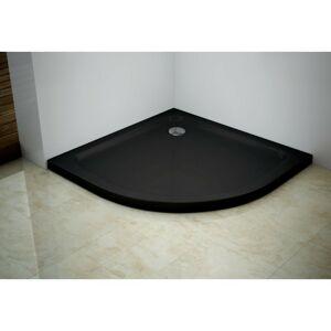 Sprchová vanička polokruhová MEXEN SLIM černá, 90x90 cm + sifon