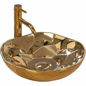 Keramické umyvadlo na desku Rea Paris Gold 41x41 cm
