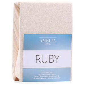 Froté prostěradlo s gumou AmeliaHome Ruby světle béžové