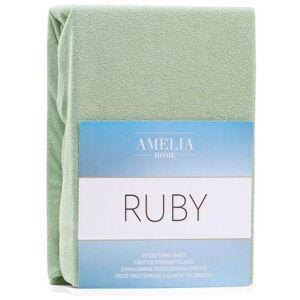 Froté prostěradlo s gumou AmeliaHome Ruby olivové