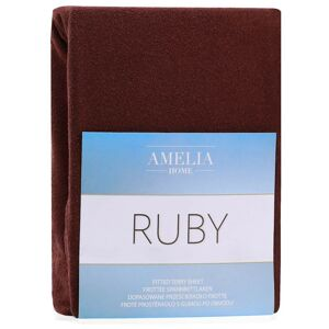 Froté prostěradlo s gumou AmeliaHome Ruby hnědé