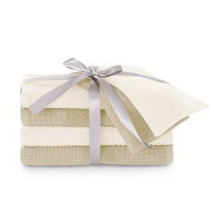 Sada bavlněných ručníků AmeliaHome Plano krémová/béžová