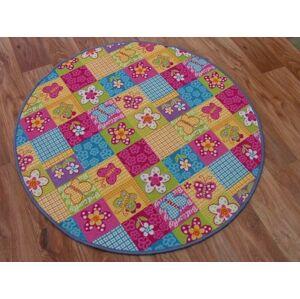 Detský guľatý koberec Butterfly & Flowers farebný