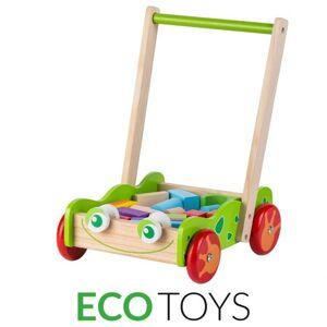 Dřevěný vozík - chodítko Eco Toys s kostkami 20 ks