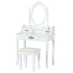 Toaletní kosmetický stolek se zrcadlem a taburetem Amanda bílý