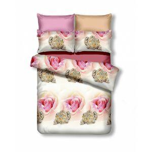 Oboustranné povlečení z mikrovlákna DecoKing Rose&Cheetah bílo-růžové