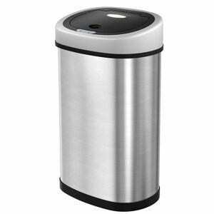 Odpadkový kôš s vekom KYLE 50 L strieborný