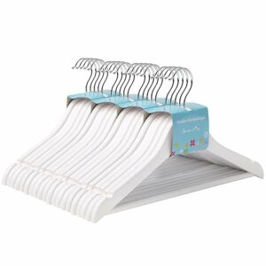 Dětské dřevěné ramínko na oděvy 20 kusů - bílé