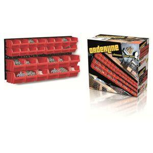 Závěsný organizér s 28 boxy ORDERLINE 80x19,5x40 červený