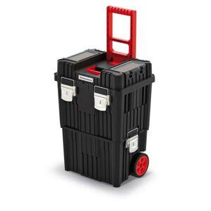 Kufr na nářadí HARDY s kovovými zámky 45x36x64 cm černo-červený