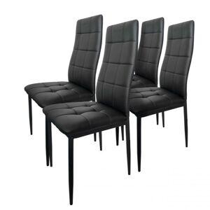 Sada 4 čalouněných židlí - černá