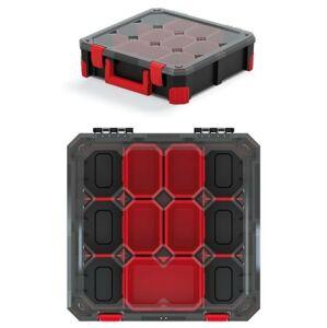 Organizér na nářadí s 11 přihrádkami TITANO 39x39x11 cm černo-červený