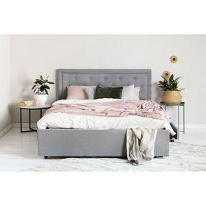 Čalouněná postel Huller 2.0 160x200 dvoulůžko - šedé