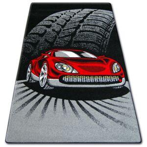 Detský koberec HAPPY Car čierno-červený