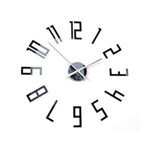 3D nalepovacie hodiny Slim 65 cm čierne