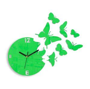 3D nalepovacie hodiny Butterflies zelené
