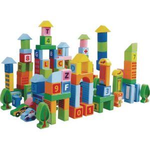 Dřevěné kostky Městečko II EcoToys 100 kusů