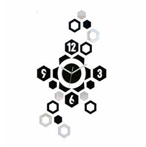3D nalepovacie hodiny Hexagon čierno-zrkadlové